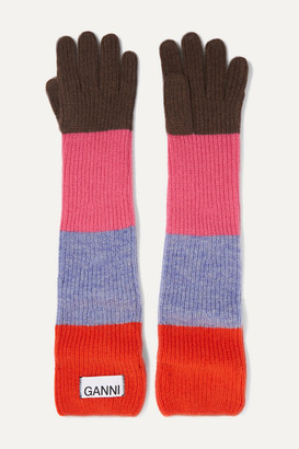 Ganni Ribbed Striped Wool-blend Gloves - Red
