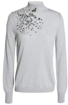 DELPOZO Sequin-Embellished Metallic Stretch-Knit Turtleneck Sweater