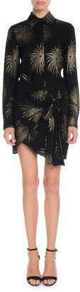 Victoria Beckham Victoria Long-Sleeve Shimmer Firework-Embroidered Shirt