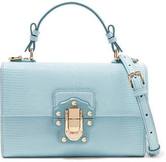 Dolce & Gabbana Lucia Lizard-effect Leather Shoulder Bag - Sky blue