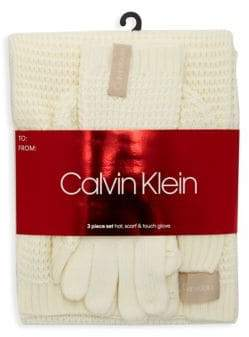 Calvin Klein Three-Piece Waffle Knit Hat Scarf & Touch Glove Set