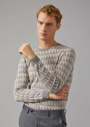 Giorgio Armani Sweater In Triangle Pattern Silk Blend