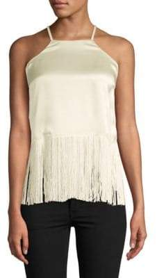 Plenty by Tracy Reese Fringed Silk Halter Top