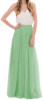 Omelas Womens Long Floor Length Tulle Skirt High Waisted Maxi Tutu Party Dress Green