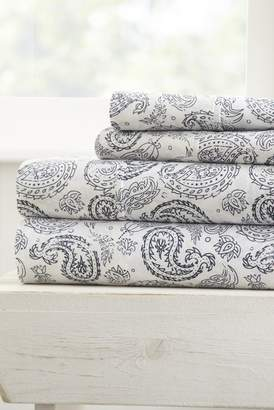 IENJOY HOME The Home Spun Premium Ultra Soft Coarse Paisley Pattern 4-Piece King Bed Sheet Set - Navy
