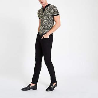 River Island Mens Black slim fit jacquard paisley polo shirt