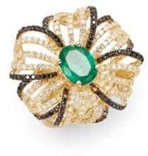 Effy Final Call Diamond, Emerald & 14K Yellow Gold Flower Ring