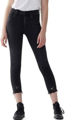 A Gold E AGOLDE Sophie High-Rise Cropped Skinny Jeans with Frayed Hem