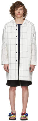 House of the Very Islands White and Blue Window Pane Check Coat