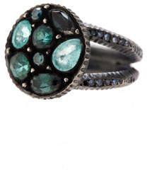 Yossi Harari Sara Round Mosaic Tourmaline & Diamond Ring, Size 6