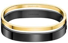 Calvin Klein Hook Polished Black And Yellow Pvd Bangle