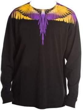 Marcelo Burlon County of Milan Men's Wings Long Sleeve Tee - Black Yellow - Size XL