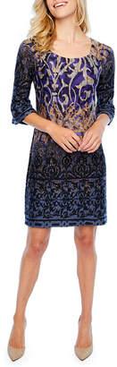 Rabbit Rabbit Rabbit DESIGN Design 3/4 Sleeve Bordered Sheath Dress