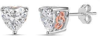Swarovski FINE JEWELRY Sterling Silver Two-Tone Heart Filigree Stud Earrings featuring Zirconia