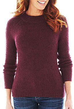 Liz Claiborne Long-Sleeve Bouclé Wool Sweater