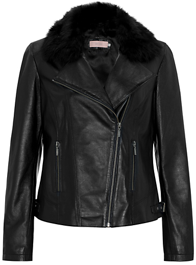 John Lewis Fur Collar Leather Biker Jacket, Black