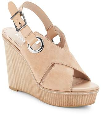 BCBGeneration Women's Penelope Leather Open-Toe Wedge Sandals
