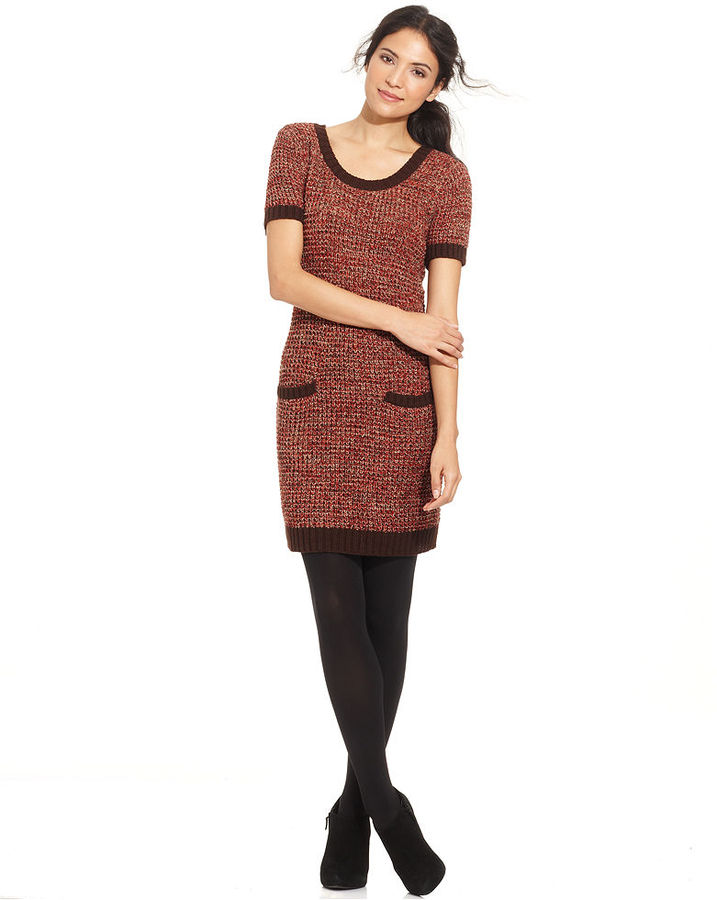 Elementz Short-Sleeve Metallic Sweater Dress
