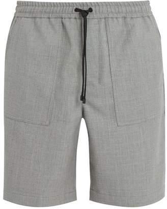 Ami Elasticated Waist Straight Leg Wool Shorts - Mens - Grey