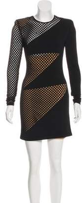Balmain Mesh-Paneled Bodycon Dress
