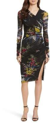 Diane von Furstenberg Ruched Faux Wrap Dress