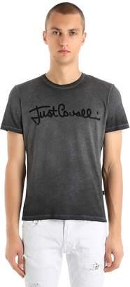 Just Cavalli Logo Snakeskin Effect Jersey T-Shirt