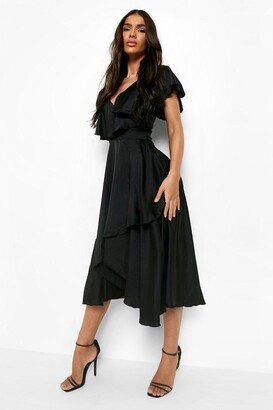 boohoo Satin Wrap Detail Skater Dress