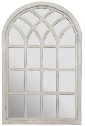 """Gallery Solutions Farmhouse Cathedral Windowpane Wall Mirror in Antique White 46""""x30"""""""