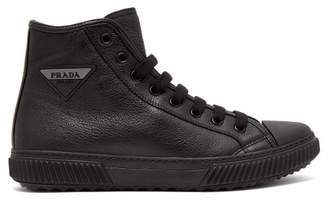 Prada Logo Patch High Top Leather Sneakers - Mens - Black