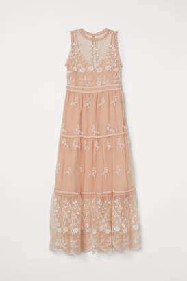 H&M Embroidered Tulle Dress - Beige