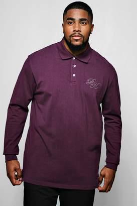 boohoo Big & Tall Long Sleeve BM Logo Pique Polo