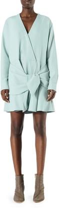 Tibi Chalky Drape Front Tie Dress