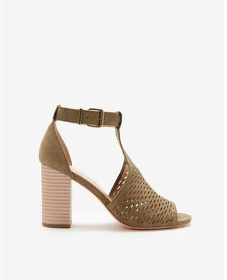 Express perforated ankle strap open toe booties