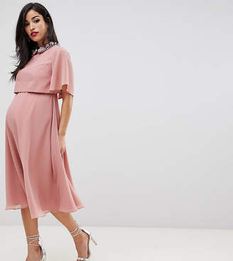 Asos DESIGN Maternity midi dress with crop top and 3D embellished collar