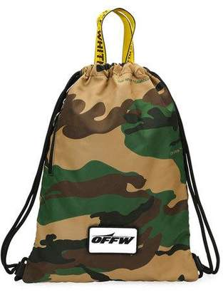 Off-White Men's Camouflage Nylon Sling Sack Backpack