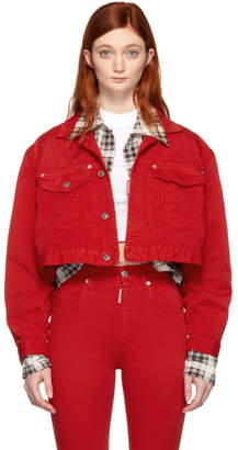 DSQUARED2 Red Denim Maxi Jacket