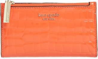 Kate Spade Sylvia Croc Embossed Leather Slim Bifold Wallet