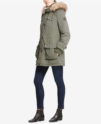 DKNY Petite Faux-Fur-Trimmed Hooded Anorak Coat