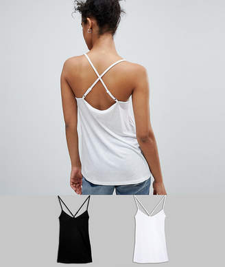 Asos DESIGN cami with cross straps in swing fit 2 pack SAVE