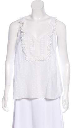 Andrew Gn Eyelet-Accented Sleeveless Top