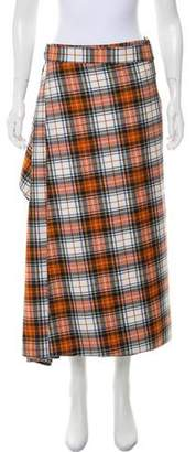 Cédric Charlier Wool Plaid Skirt