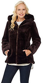 Susan Graver Faux Fur Zip Front Jacket withTrimmed Hood