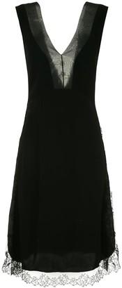 Neil Barrett lace trim knee length dress