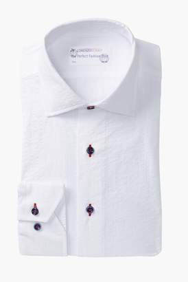Lorenzo Uomo Seersucker Trim Fit Dress Shirt