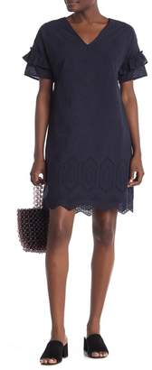 Everleigh Ruffle Sleeve Eyelet Shift Dress
