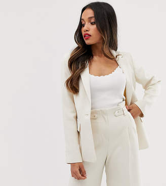 Miss Selfridge Petite tailored blazer in ecru