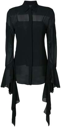 Vera Wang draped sleeves sheer shirt