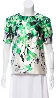 Prabal Gurung Short Sleeve Floral Top