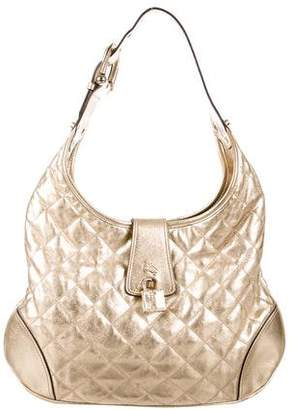 Burberry Metallic Quilted Hobo Bag