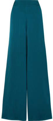 Safiyaa - Nara Hammered Silk-satin Wide-leg Pants - Emerald